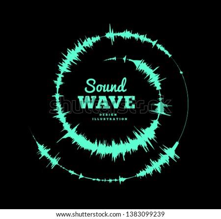 Sound wave spiral form. Vector illustration on black background Stock photo ©