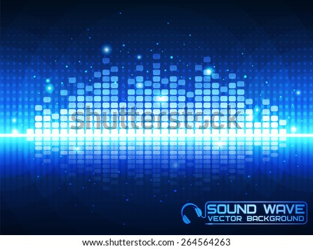 Stock Photo Sound wave. Vector Illustration of a blue music equalizer. EPS10.