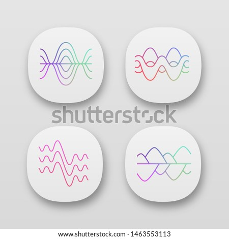 Sound waves app icons set. UI/UX user interface. Vibration, noise amplitude. Soundwaves, digital waveform. Audio, music rhythm frequency. Web or mobile applications. Vector isolated illustrations