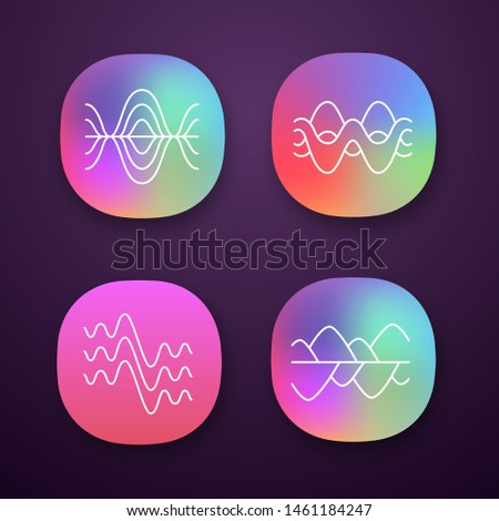 Sound waves app icons set. Vibration, noise amplitude, levels. Soundwaves, digital waveform. Audio, music, melody rhythm. UI/UX user interface. Web, mobile applications. Vector isolated illustrations