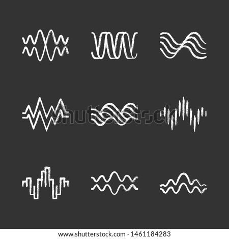 Sound waves chalk icons set. Music rhythm, heart pulse. Audio waves, sound recording, radio signals logotype. Digital waveforms, abstract soundwaves, amplitude. Isolated vector chalkboard illustration