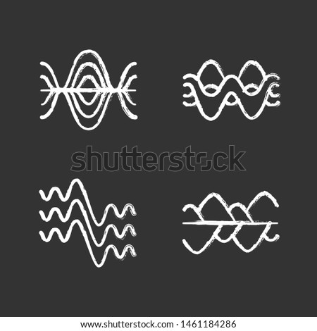 Sound waves chalk icons set. Vibration, noise amplitude, levels. Soundwaves, digital waveform. Audio, music, melody rhythm frequency. Wavy abstract lines. Isolated vector chalkboard illustrations