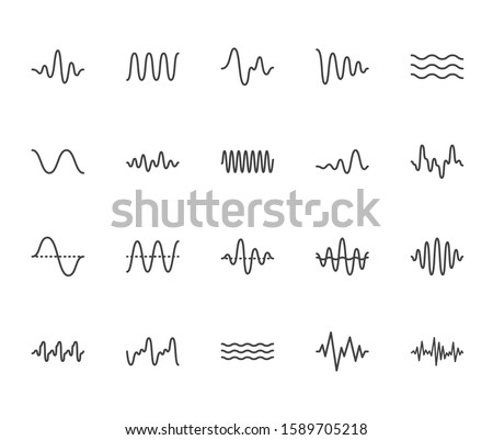 Sound waves flat line icons set. Vibration, soundwave, audio voice signal, abstract waveform frequency vector illustrations. Outline pictogram for music app. Pixel perfect. Editable Strokes. Stock photo ©