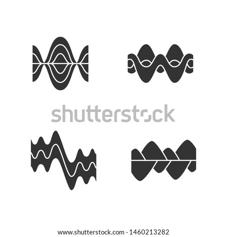 Sound waves glyph icons set. Silhouette symbols. Vibration, noise amplitude, level. Soundwaves, digital waveform. Audio, music, melody rhythm frequency. Wavy, curve lines. Vector isolated illustration