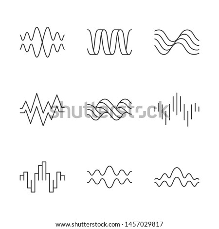 Sound waves linear icons set. Music rhythm, heart pulse. Audio waves, sound recording and signals. Digital waveforms. Thin line contour symbols. Isolated vector outline illustrations. Editable stroke