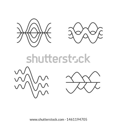 Sound waves linear icons set. Vibration, noise amplitude, levels. Audio, music, melody rhythm frequency. Thin line contour symbols. Isolated vector outline illustrations. Editable stroke