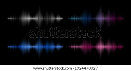Sound waves. Music frequency, abstract electronic soundtrack. Metal, red and blue waveform energy vector set. Illustration wave soundtrack frequency, music equalizer rainbow glowing Stock photo ©