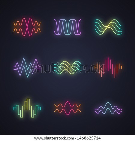 Sound waves neon light icons set. Glowing signs. Music rhythm, heart pulse. Audio waves, radio signals logotype. Digital waveforms, abstract soundwaves, amplitude. Vector isolated illustrations