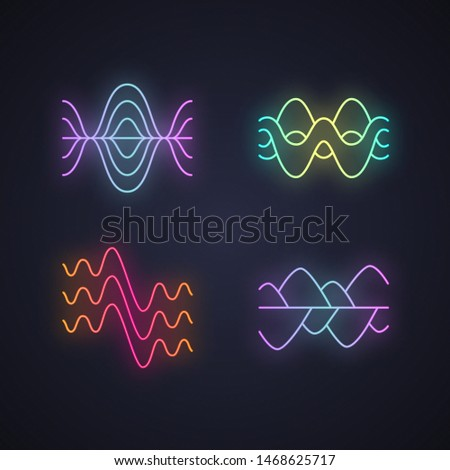 Sound waves neon light icons set. Glowing signs. Vibration, noise amplitude, levels. Soundwaves, digital waveform. Audio, music, melody rhythm frequency. Vector isolated illustrations