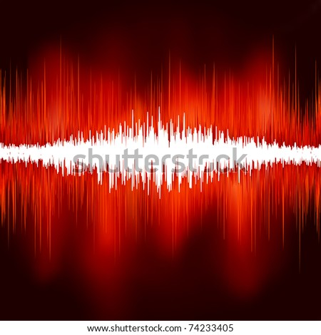 Sound waves on black background. EPS 8 vector file included