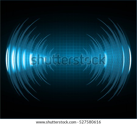 Sound waves oscillating dark blue light, Abstract technology background. Vector.