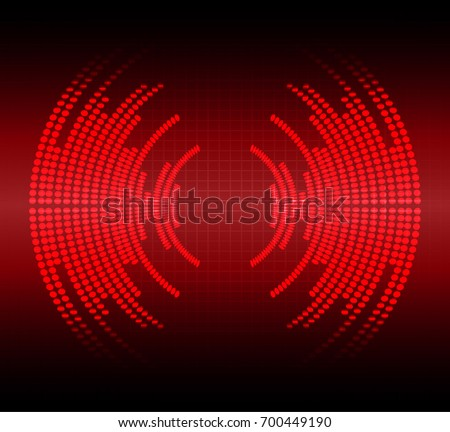 Sound waves oscillating dark red light, Abstract technology background. Vector.