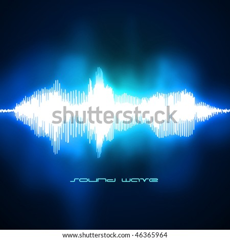 Sound waves oscillating on black background. Vector.