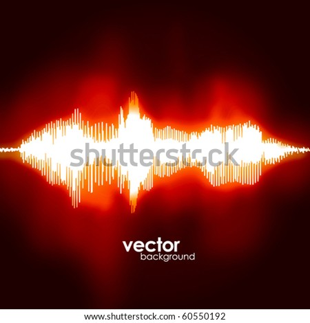 Sound waves oscillating on black background. Vector. - stock vector
