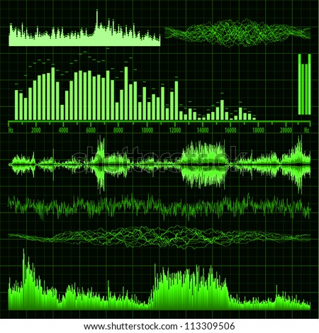 Sound waves set. Music background. EPS 8 vector file included
