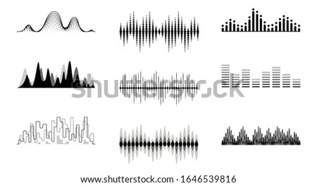 Sound waves set. Playing song visualisation, music radio frequency black lines and sounds amplitudes. vector illustration. Photo stock ©