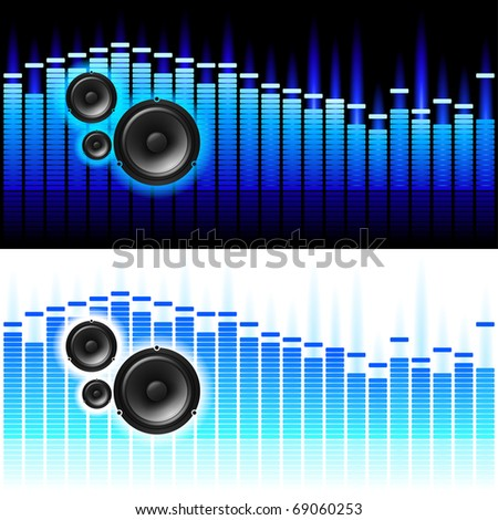 Sound Waves. Vector illustration on white and black background