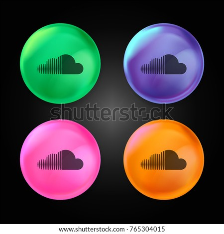 Soundcloud logo crystal ball design icon in green - blue - pink and orange.