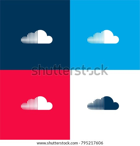 Soundcloud logo four color material and minimal icon logo set in red and blue