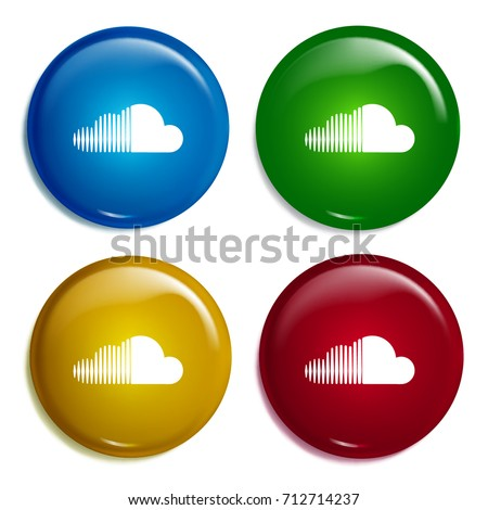 Soundcloud multi color gradient glossy badge icon set. Realistic shiny badge icon or logo mockup