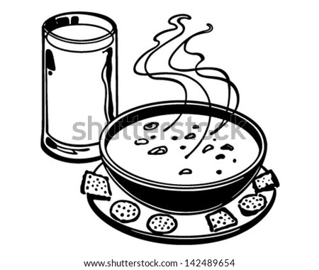 Soup And Crackers - Retro Clip Art Illustration