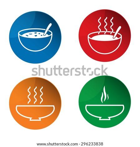 Soup icon. Hot soup icon. Bowl icon. Vector. Button