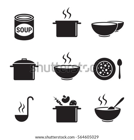Soup icons set. Black on a white background