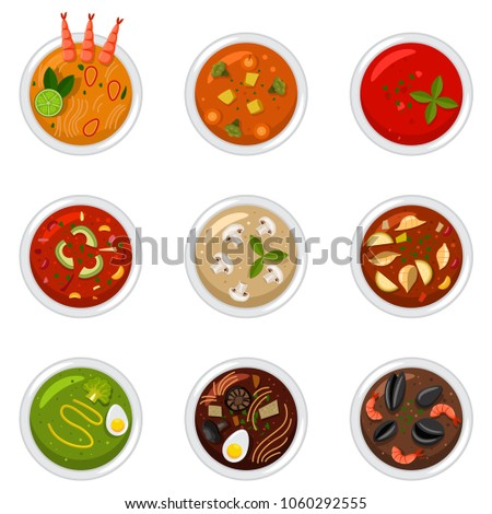 Soup in dish top view. Food vector cartoon flat icon set isolated on a white background.