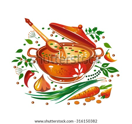 Soup in the saucepan, vegetables, spices and herbs. Vector illustration.