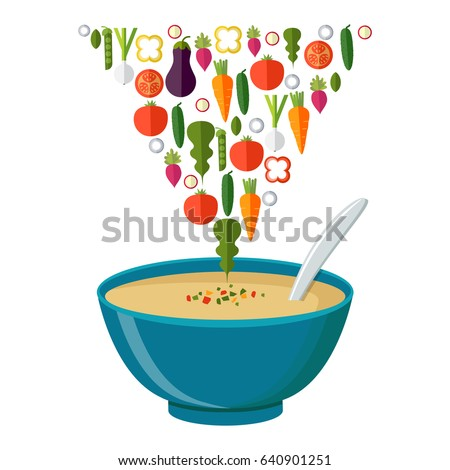 Soup with vegetables isolated  on white background. Vector illustration. Hot bowl of soup, dish isolated icon.