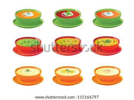 Soups in bowls, vector icons.