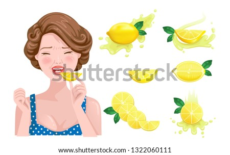 sour taste of beautiful girls face eating lemon. She feels sour. Saliva in the mouth and face showing emotions, design flavors, icons of yellow lemon and lemon juice. Vector illustration.