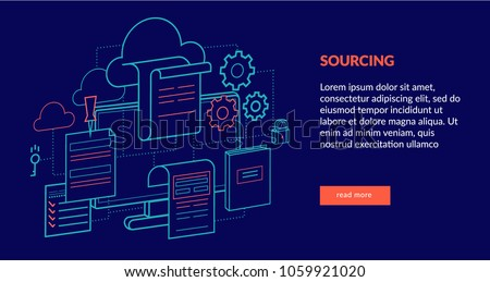 Sourcing Concept for web page, banner, presentation. Vector illustration
