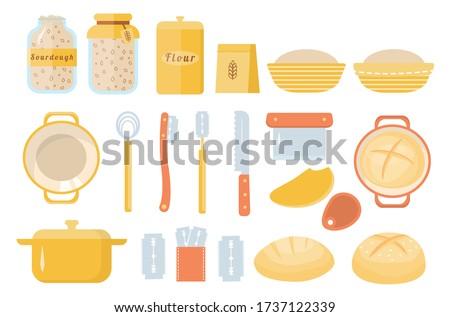 Sourdough bread home baking set of icons. Sourdough starter culture in mason jar. Muslin cloth. Dough scraper. Danish whisk. Proofing basket. Bench knife. Bread Lame. Dutch oven. Vector cartoon flat. Photo stock ©