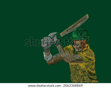 South Africa Cricket Batter In Playing Pose With Line Pattern On Green Background.