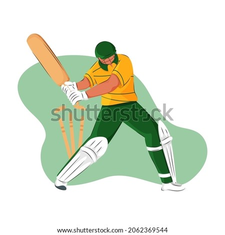 South Africa Cricket Batter Losing His Wicket On Green And White Background.