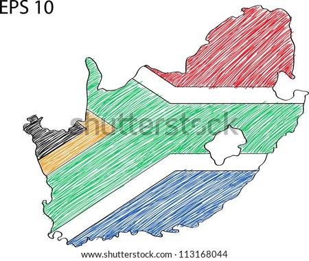 South Africa Flag Map Vector Sketch Up, EPS 10.