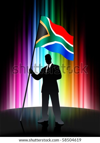 South Africa Flag with Businessman on Abstract Spectrum Background Original Illustration