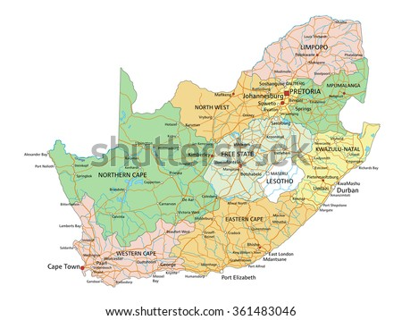 South Africa Highly Detailed Editable Political Map With Labeling