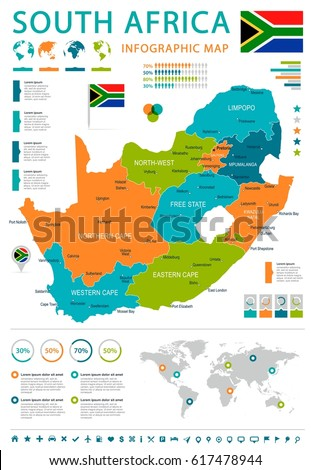 south africa map and flag
