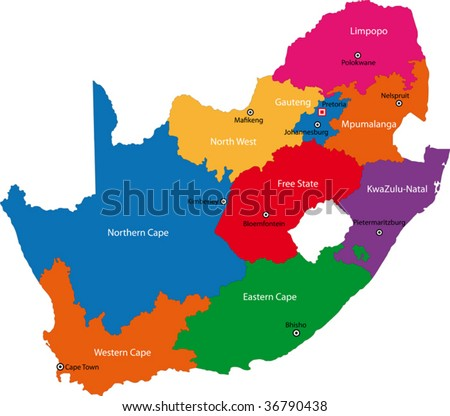South Africa map designed in illustration with the provinces and the main cities. - stock vector