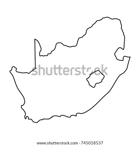 South Africa map of black contour curves of vector illustration