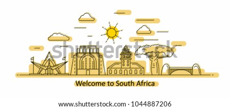 South Africa panorama. South Africa vector illustration in outline style with buildings and city architecture. Welcome to South Africa.