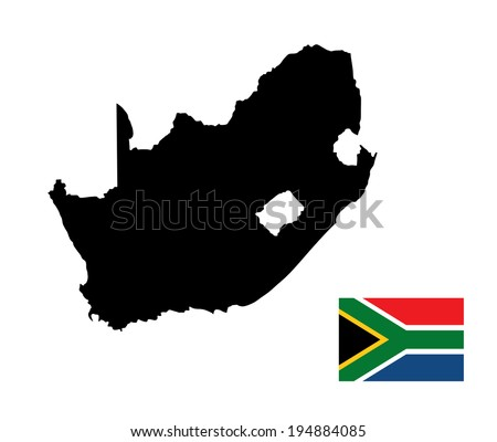 south africa vector map and flag isolated on white background high detailed silhouette illustration