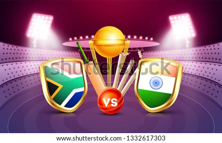 South Africa vs India cricket match poster design with countries flag shields, champion trophy, cricket bat and ball on night stadium view background.
