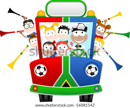 South Africa World Cup Fan Bus - Vector