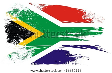 South African flag. A grunge