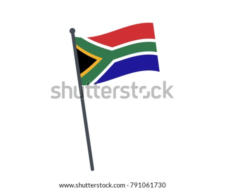 south african flag. The national flag of south african on a pole. The waving flag. The sign and symbol of the country. Realistic vector on white.