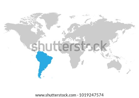 south america continent blue marked in grey silhouette of world map simple flat vector illustration