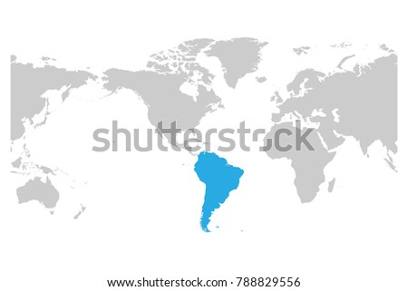 South America continent blue marked in grey silhouette of World map. Simple flat vector illustration.